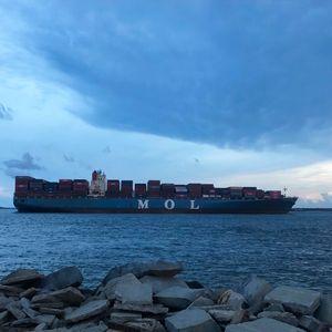 Cargo Ship & Rocks