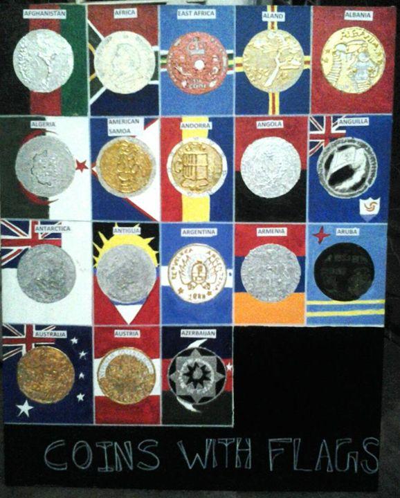 Coins with flags - Arunpundirartist