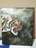 Tiger painting on canvas board