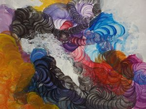 A colourful abstract painting