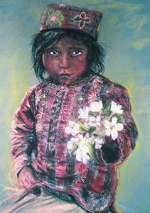 Pastel of street boy with flowers