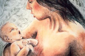 Eve with Seth, Pastel Drawing