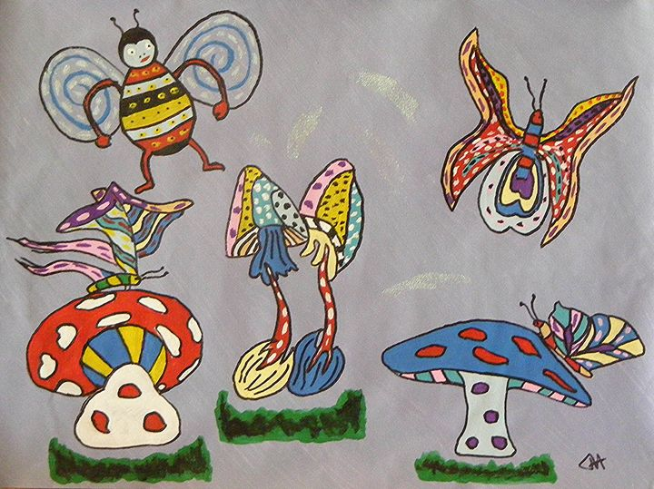 Happy Mushrooms & Insects - Terry Harnwell