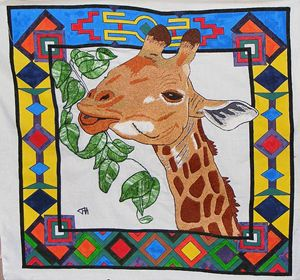3D Brush Silk Embroidered Giraffe