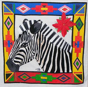 3D brush silk embroidered Zebra