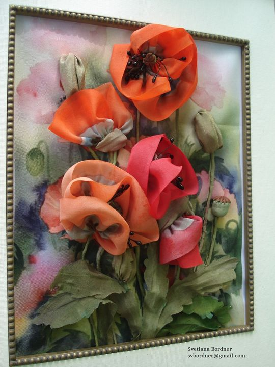 Silk Ribbon Flowers. Poppies. - Silk Ribbon Art