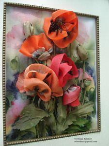 Silk Ribbon Flowers. Poppies.