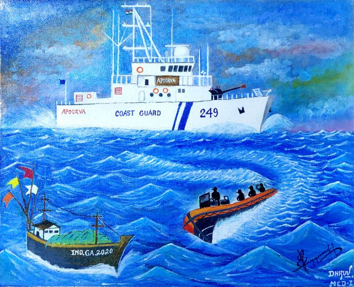 Acrylic painting of Warship - DHRUV