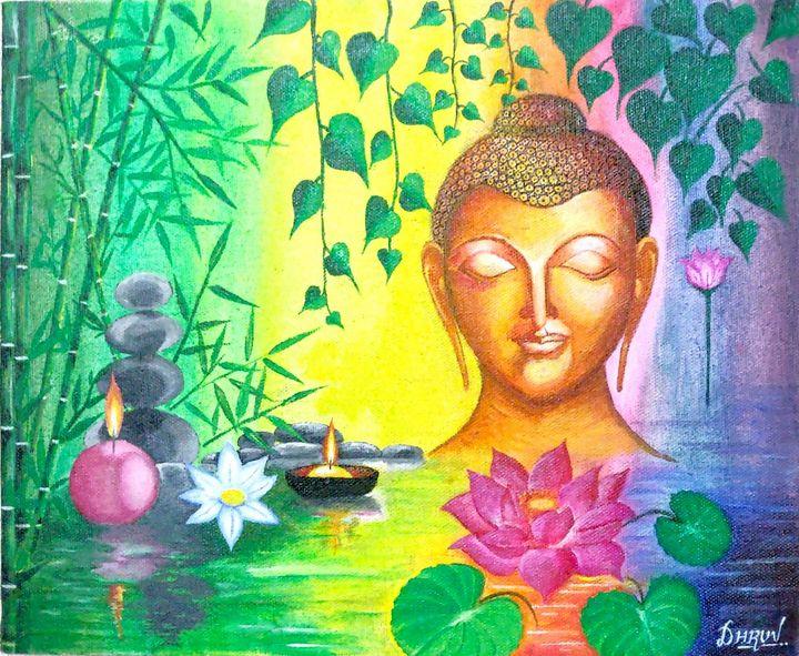 Lord Buddha Acrylics Painting - DHRUV