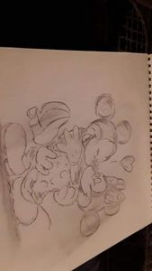 Sketch of Mickey and Minnie dancing