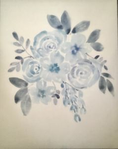 Watercolour Flowers Blue