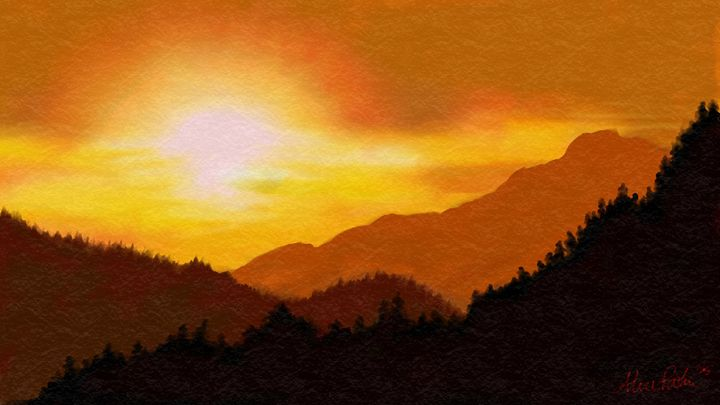Orange Mountain Sunset - Alice Paulson
