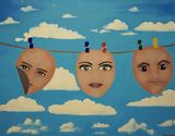 Faces on a washing line