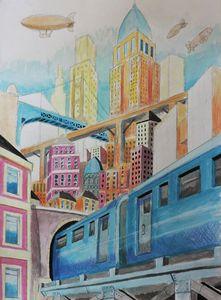 train on city