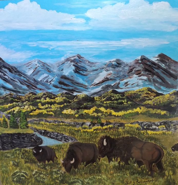buffaloes grazing - Shells landscapes and ink abstracts