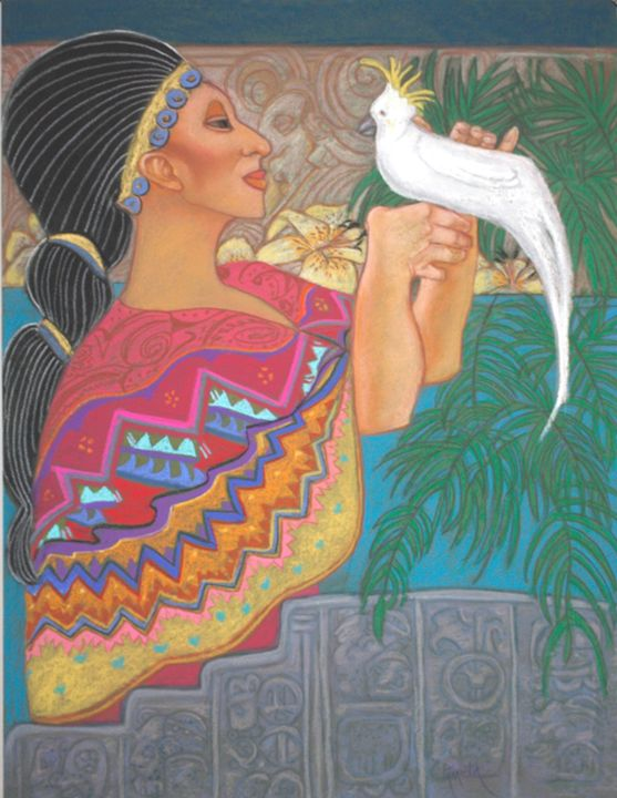 Mayan Priestess her bird - pamela mccabe's gallery