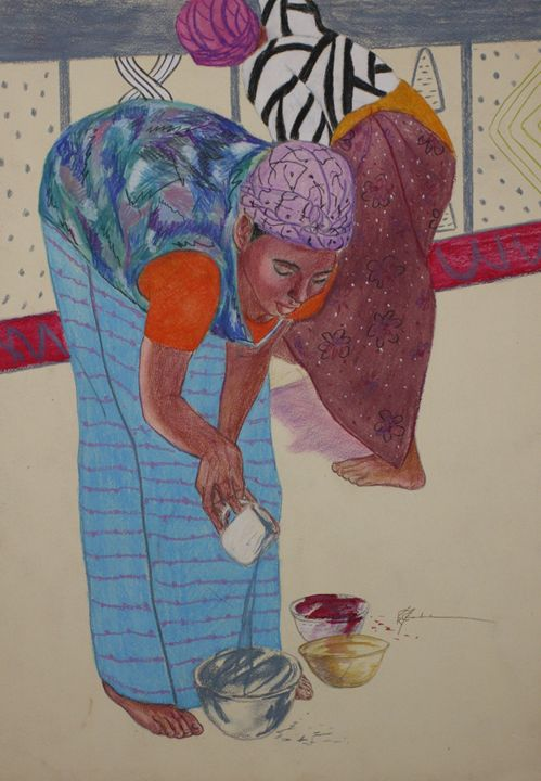 african woman painting their home - pamela mccabe's gallery