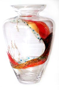Klimt Vase - ARTini Glasses by Lisa Hand Painted Glassware