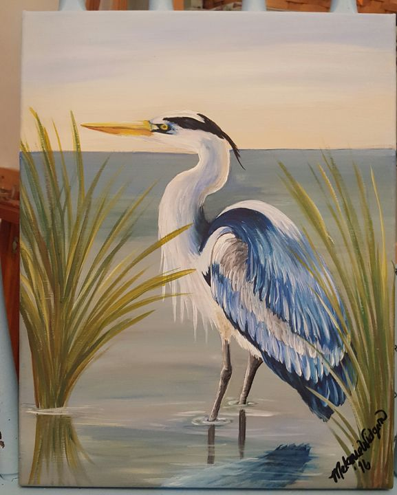 Blue Heron in the Creek -  Shorelovepaintings