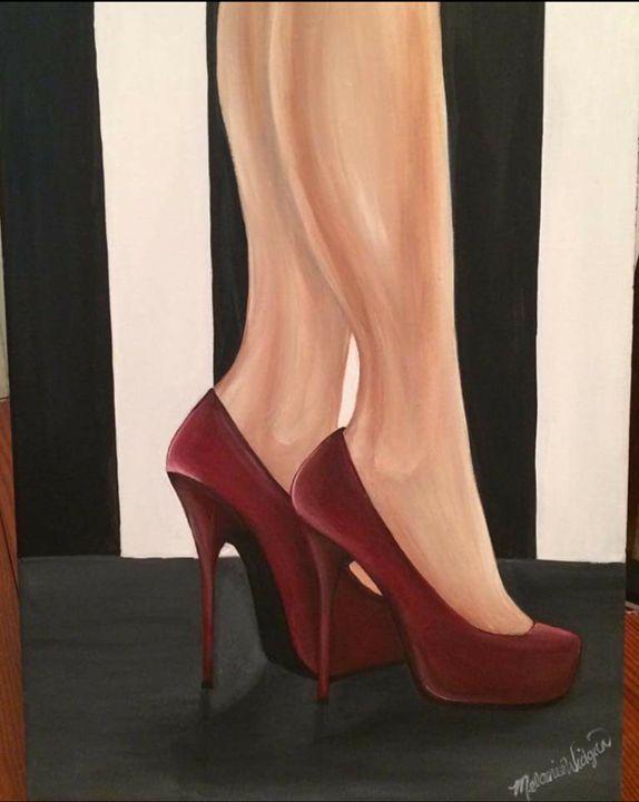 Lady in Red Heels -  Shorelovepaintings