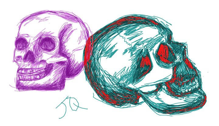 Two Skulls Sketch - James Quentin