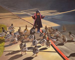 Amelie-An and her ducks