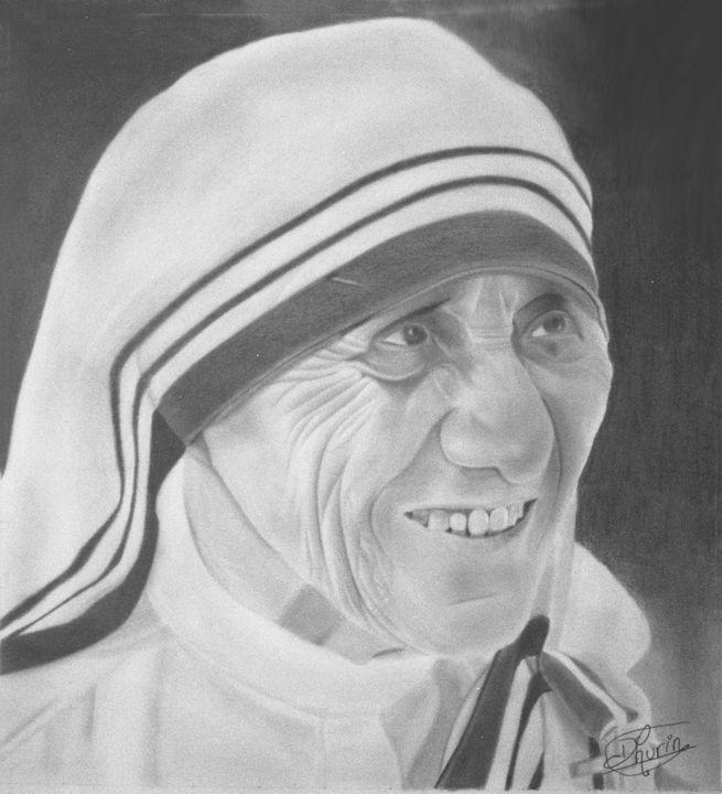 Mother Teresa Pencil Sketch Portrait - Dhurin's ART