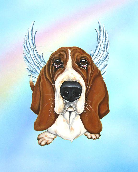 Basset Hound Angel - Art by Weeze