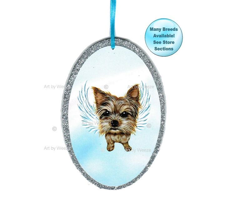 Yorkie Angel Ornament - Art by Weeze