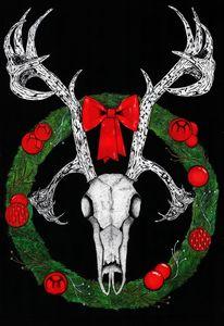 Festive Reindeer Skull