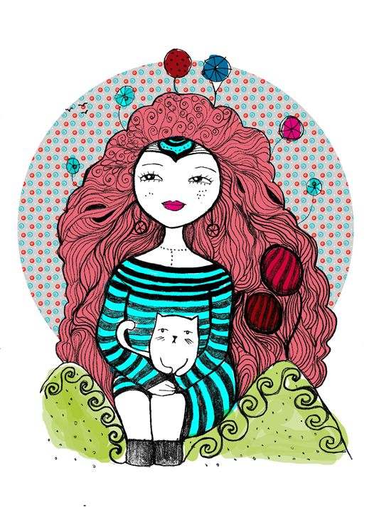 girl and cat - blueart