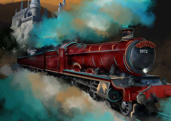 Hogwarts Express Abstract Painting - Peace Love Education