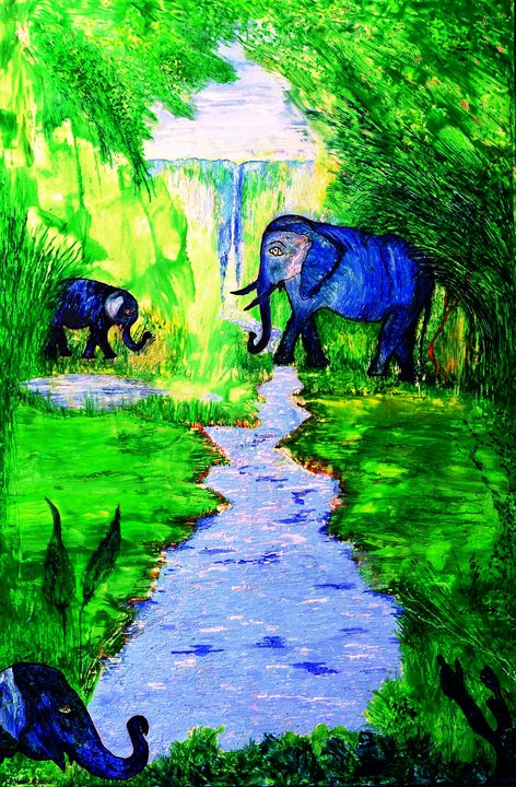 Elephant Sanctuary - Worx Of Wax -Encaustic Art