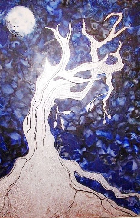 Wisdom Under The Moon - Worx Of Wax -Encaustic Art