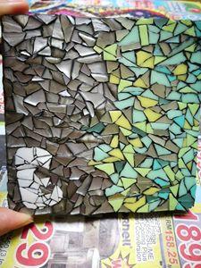 """E"" mosaic coaster"