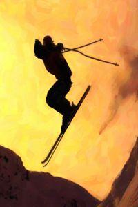 Flying snowboarder on mountains - Lanjee