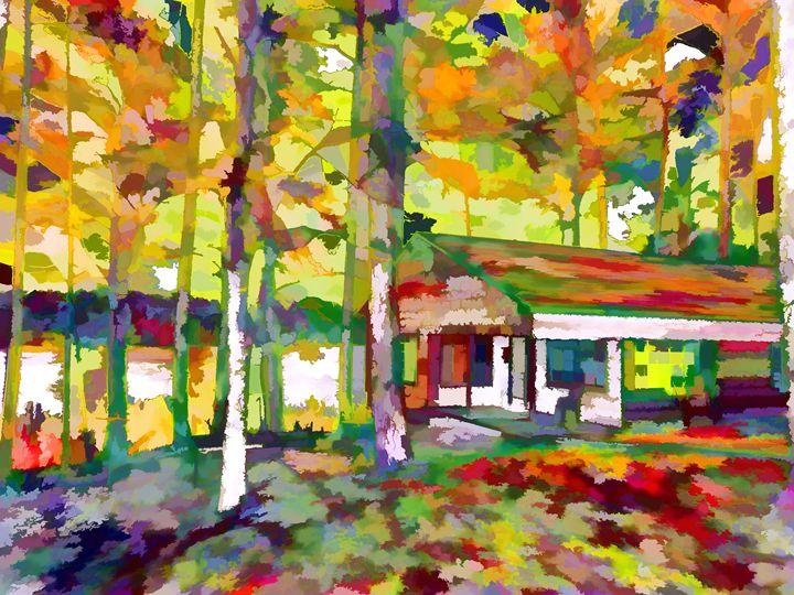 Houses and autumn trees - Lanjee