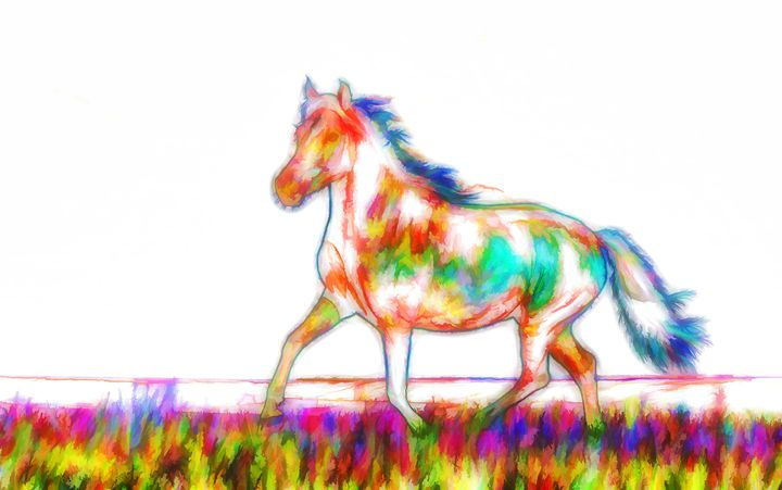 Horse on a green grass - Lanjee