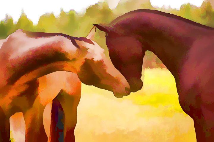 Two horses playing - Lanjee
