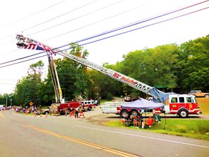 A Firetruck Ladder the is fully exte