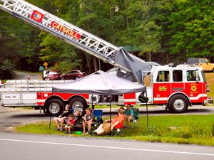 Fire truck with ladder extended 2