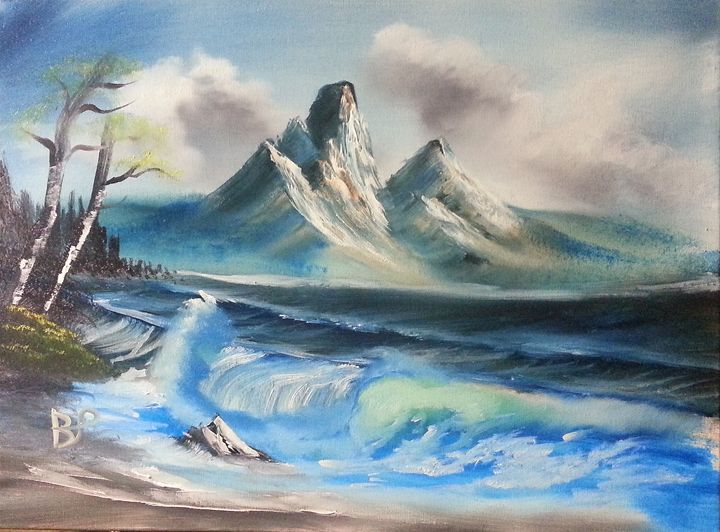 mountain by the sea - landscape arts