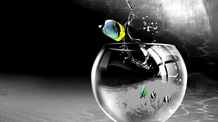 Aquarium Glass Drops Digital Splash - Ariana2u