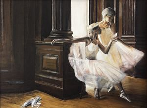 Two female ballet dancers in room