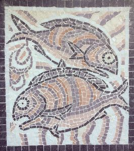 Mosaic two purple fishes