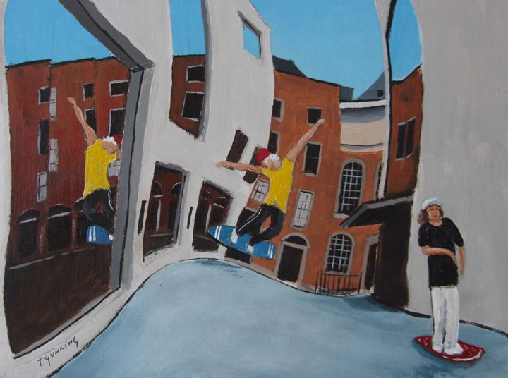 Street Surfing, Temple Bar - Blue Sky Art