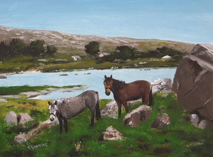 Connemara Ponies - Blue Sky Art