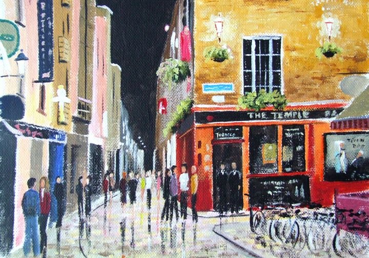 Night Scene, Temple Bar - Blue Sky Art