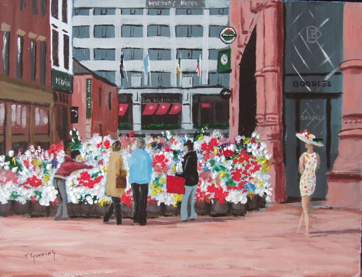Flower Sellers, Grafton Street - Blue Sky Art