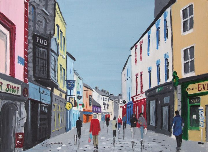 Shop Street, Galway - Blue Sky Art